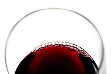 Glass of Red Wine with bubbles