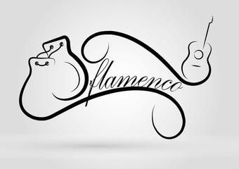 Logo flamenco. Guitar, castanets