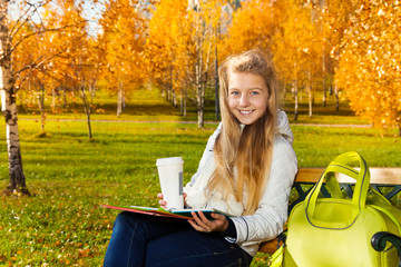 Teen girl after school in the park