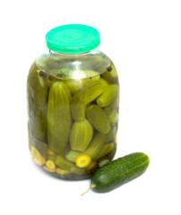 glass jar with cucumbers