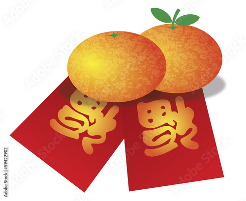 Chinese New Year Oranges and Red Money Packets Illustration