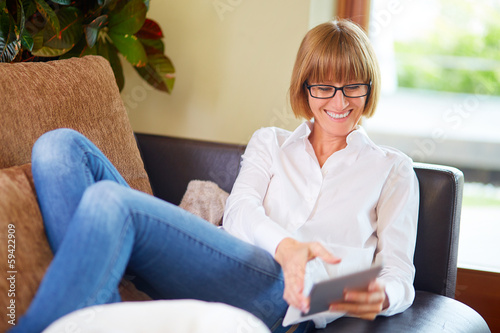Relaxed middleaged women with pad