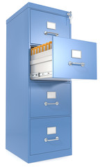 Blue File Cabinet. Open drawer with files. Lock and key.