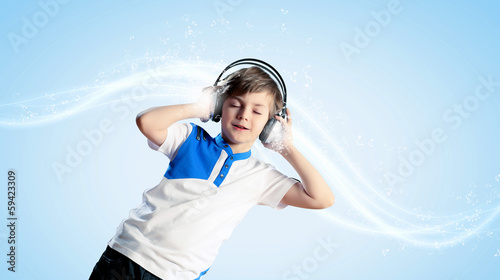 Little boy in headphones