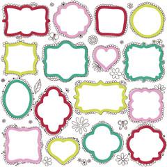 Set of hand-drawn doodle frames