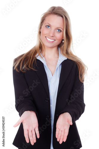 young blond woman stretching hands to the presentation of