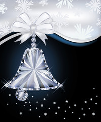 Diamond Christmas bell greeting card, vector