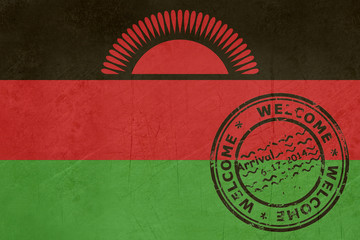 Welcome to Malawi flag with passport stamp