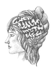 sketch of human brain and a woman's face