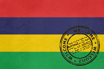 Welcome to Mauritius flag with passport stamp