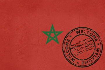 Welcome to Morocco flag with passport stamp