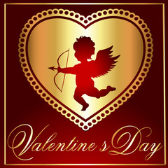Valentine's-Maroon & Gold Heart with Cupid