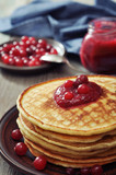 Pancakes with cranberry jam