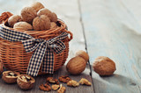 Walnuts in wicker basket