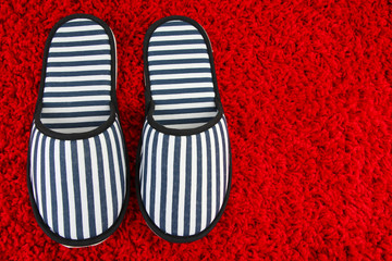 Striped slippers on carpet background