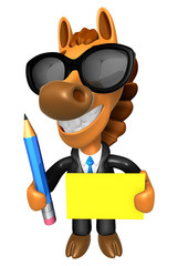 Wear sunglasses 3D Horse Mascot hand is holding a Yellow paper a