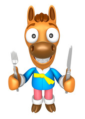 3D Horse Mascot hand is holding a Fork and Knife. 3D Animal Char