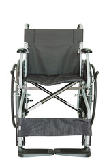 Black wheelchair for handicapped persons on white background