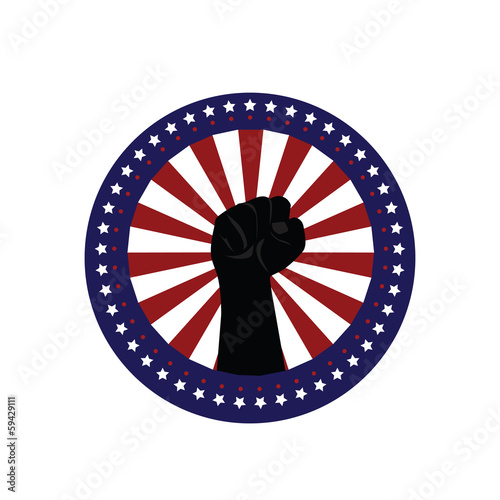 USA. clenched fist held high in circle ray star Label,vector bac