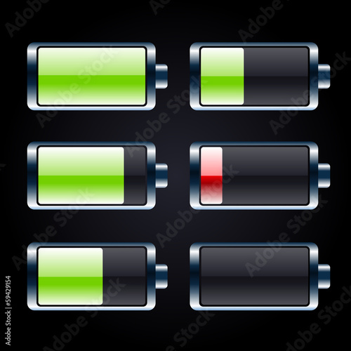 Glossy battery icons set