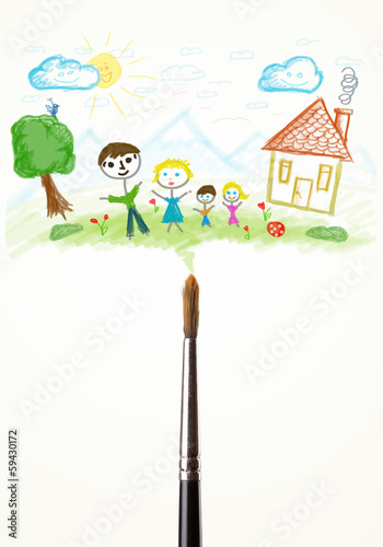 Brush close-up with a drawing of a family