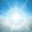 Winter day bright sun flare vector background.