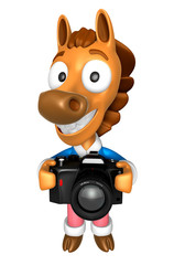 3D Horse character to shoot the Big Camera toward the Front. 3D