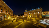 Panorama of Piazza del Campidoglio on Capitoline Hill with Palaz