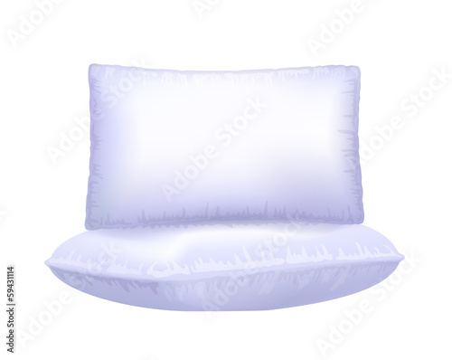 Two pillows on white background.