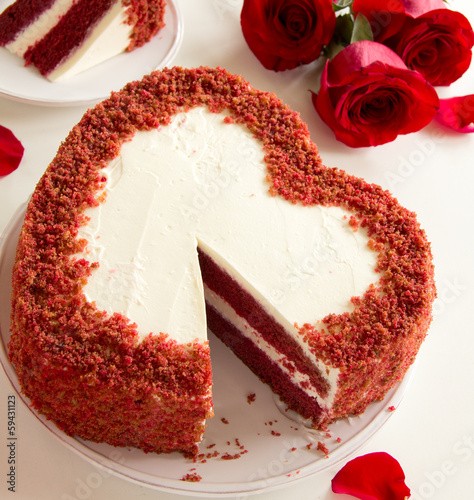 "Cake ""Red Velvet"" in the form of heart. Valentine's Day."