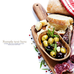 Italian salami with olives and ciabatta