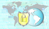 Illustration of protection cyber crime. Lock with earth.