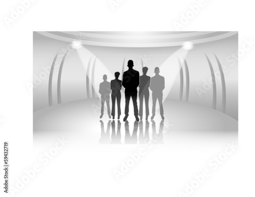 Illustration of business people with clear lights