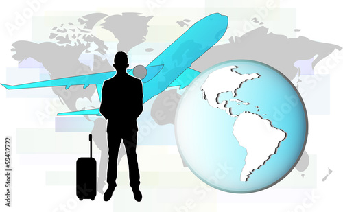 Illustration of business man travelling by plane.