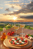 Italian pizza and glasses of white wine in Chianti, Italy - 59432989
