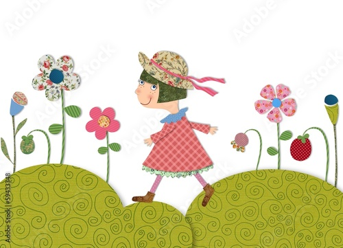 girl walking on flowering meadow