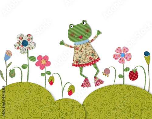 Little frog jumping on flowering meadow