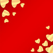 Background Valentine's Day.golden heart on a red background.hear
