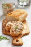 Salmon and soft cheese spread on bread