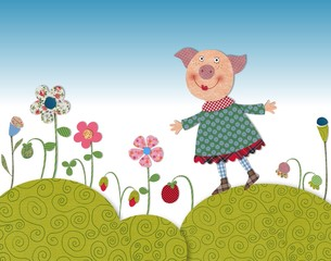 Little pig walking on flowering meadow