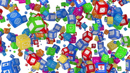 Cloud Computing Symbol Made from many Application Icons. Alpha
