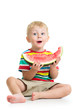 kid boy eating watermelon