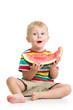 kid boy eating watermelon