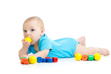 baby boy playing with block toys