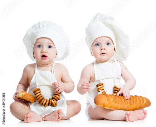 funny cooks children boy and girl