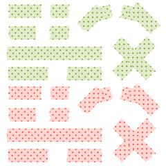 Klebestreifen Punkt Muster - grün und rot