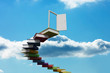 Book steps leading to door against sky