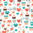 Seamless pattern for Valentine's day, date and weddings