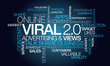 Viral 2.0 advertising views share word tag cloud illustration