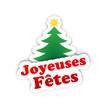 """Etiquette """"Joyeuses Fêtes"""" avec Sapin de Noël (joyeux bannière)"""